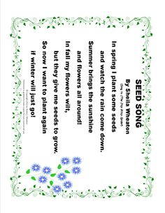 Seed Song - Singing this free song will help children learn about the plant life cycle through the seasons!  It's part of my Plant Project Unit.