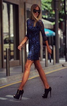 Blue Lace Dress by Style Lover. I might be a little bit in lust. Vestido Dress, Dress Skirt, Lace Dress, Dress Up, Blue Dresses, Short Dresses, Love Fashion, Fashion Design, Fashion Women