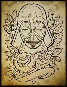Darth Vader tattoo line art