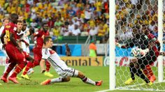 Miroslav Klose of Germany scores his team's second goal past Fatawu Dauda of Ghana during the 2014 FIFA World Cup Brazil Group G match between Germany and Ghana at Castelao on June 21, 2014 in Fortaleza, Brazil