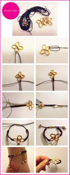 DIY Gold Clover Bracelets. www.funcraftsclub.com