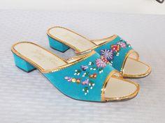 1970s Vintage Turquoise Velvet Beaded and by MyVintageHatShop
