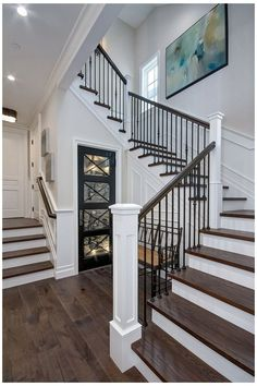 Staircase Railing Design, Wrought Iron Staircase, Wrought Iron Stair Railing, Iron Spindles, Staircase Ideas, Railing Ideas, Metal Spindles Staircase, Iron Spindle Staircase, Railings For Stairs