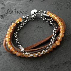 karneol i rzemienie - bransoletka Biżuteria Bransolety formood
