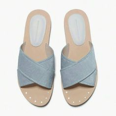 New! Zara Pony Hair Leather Minimal Flat Sandals