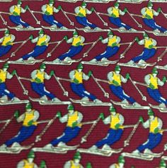Banana Republic Mens Silk Necktie Skiers Dark Red Skiing 4x57 inches 145x10 cm #BananaRepublic #NeckTie