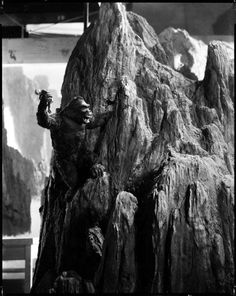 Rare, behind the scenes shot of Kong climbing Skull Mountain in the 1933 original