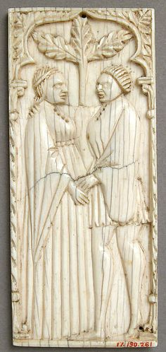 Ivory plaque with a Pair of Lovers, 14th century north Italy. Viking Jewelry, Ancient Jewelry, Medieval Fashion, 14th Century, Ivoire, British Museum, Love Art, Art Museum, Jewelry Art