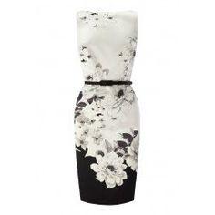 Idreammart Vintage Ladies' Black & White Polyester Lotus Printed Short Pencil Dress - iDreamMart.com