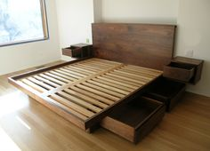 Diy Platform Bed With Drawers Plans Tips For Building A Simple Inside Diy Queen Bed Frame How To Diy Queen Bed Frame Plans King Platform Bed Frame, Platform Bed Plans, Platform Bed With Drawers, Bed Frame With Drawers, Diy Platform Bed, King Size Bed Frame, Bed Frame With Storage, Large Drawers, Bed With Drawers Underneath