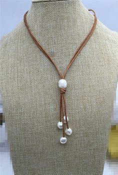 Freshwater Pearl and Leather Lariat Necklace, Light Brwon Leather Pearl…