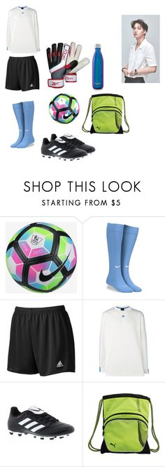 """Pre-game soccer practice_Drew"" by gonzalessiblings ❤ liked on Polyvore featuring NIKE, adidas, adidas Originals, Reebok, Puma, S'well, men's fashion and menswear"