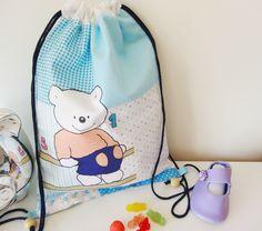 Sac à doudou - sac à goûter - sac polochon pour enfants avec motif ourson - sac pour école : Sacs enfants par bebe-chou-by-estefan