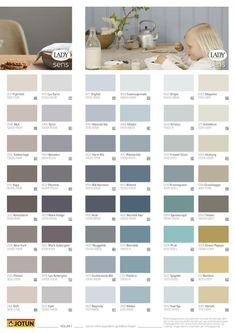 JOTUN LADY SENS Våre vakreste farger Volum 1 Interior Paint Colors For Living Room, Bedroom Wall Colors, Wall Paint Colors, Paint Colors For Home, House Colors, Jotun Paint, Jotun Lady, Paint Color Chart, Colour Chart