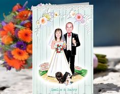Country Fun- Illustrated picture from photos of the couple posing with their dog for their invites