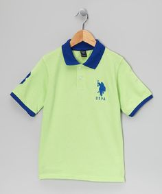 Take a look at this U.S. Polo Assn. Mint & Blue 'USPA' Polo - Boys on zulily today!