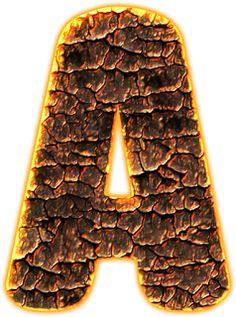 Alfabeto Decorativo: Alfabeto - Brasa Ardente 1 - PNG - Letras - Maiúsc...