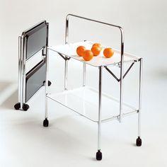 Carrello Richiudibile in soli 6 cm Portavivande telaio in acciaio vassoi in formica Bianco Select
