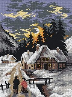 A Cold Evening's Walk Tapestry Canvas Beaded Cross Stitch, Cross Stitch Charts, Hand Embroidery Stitches, Cross Stitch Embroidery, Pictures To Draw, Scenery Pictures, Cross Stitch Silhouette, Cross Stitch Landscape, Christmas Paintings