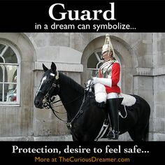In a dream, a guard or security person can mean...  More at TheCuriousDreamer... #dreammeaning #dreamsymbol