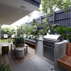 The Block Triple Threat in Melbourne Small Backyard Patio, Backyard Ideas For Small Yards, Outdoor Spaces, Outdoor Decor, Outdoor Ideas, Patio Ideas, Bbq Area, Greenery, Landscaping Tips