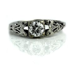 Art Deco Engagement Ring 1930's 47ctw Engagement Ring Antique Diamond... ($2,550) ❤ liked on Polyvore featuring jewelry, rings, white gold engagement rings, white gold diamond rings, 14k diamond ring, antique white gold ring and antique rings