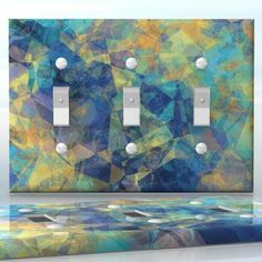 DIY Do It Yourself Home Decor - Easy to apply wall plate wraps | Fragment of Painted Movement  Blue and yellow abstraction  wallplate skin sticker for 3 Gang Toggle LightSwitch | On SALE now only $5.95