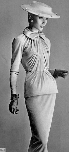 1955 Model in two-piece jersey dress by Jacques Fath, photo by R.L. Dupuy,