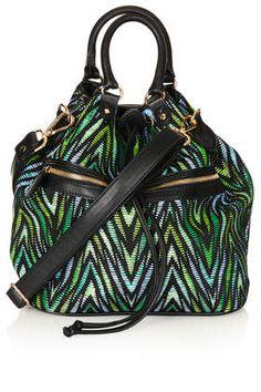Green black shopper bag #backpack #topshop