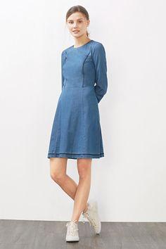 Esprit EDC jurk denim jeans medium blauw dress medium blue jeans only available in size xs.