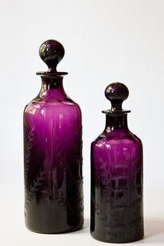 Awesome vintage bottles perfect to hold Lime Rickies for an after-prom party Antique Bottles, Vintage Bottles, Bottles And Jars, Antique Glass, Glass Jars, Perfume Bottles, Purple Love, All Things Purple, Purple Glass