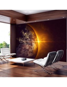"""Durability, waterproof and stripes photomural nonwoven fabric Wall mural """"Golden Earth"""" to stick on the wall. Wall Mural """"Golden Earth"""" with an inspiring theme will be an impressive ornament to any room. Wall Wallpaper, Interior Exterior, Home Interior Design, Interior Decorating, Diy Furniture, Furniture Design, Aesthetic Bedroom, Boy Room, Ideas"""