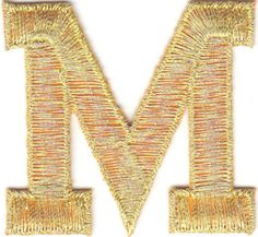 Single Count Custom And Unique Inches American Alphabet Cool Metallic Script Bold Fancy Capital Letter M Iron On Embroidered Applique Patch