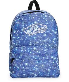 Launch your style to all new dimensions in this satellite blue galaxy print backpack made with a roomy storage compartment with zipper closures to keep your gear secured.