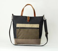 Navy and chocobrown canvas Tote / shoulder bag with front ZipPocket, Design by BagyBags