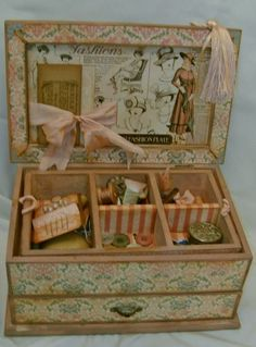 The inside of Charvill's genius altered sewing box using A Ladies' Diary. 1 of 2 Altered Tins, Altered Art, Graphic 45, Vintage Sewing Box, Vintage Storage, Sewing Baskets, Paper Crafts, Diy Crafts, Pretty Box
