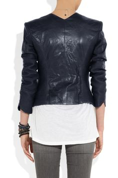 Theyskens Theory|Jadra leather jacket|NET-A-PORTER.COM Stella Mccartney Shoes, J Brand Jeans, Urban Chic, Proenza Schouler, Midnight Blue, Theory, Marc Jacobs, Cover Up, Leather Jacket