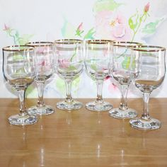 Lovely Set of 6 Vintage Circle Wine by cocoandcoffeevintage