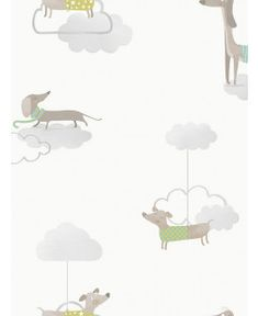 This Walkies Sausage Dog Wallpaper features adorable dachshunds in jumpers and scarves set amongst grey clouds on a white background. Dog Wallpaper, Paper Wallpaper, Scandinavian Style Bedroom, Cute Jumpers, Grey Clouds, High Quality Wallpapers, Main Colors, Grey And White, Dachshund