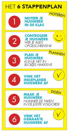 Met dit 6 stappenplan heb je je huiswerk gepland, gemaakt en gecontroleerd. Life Hacks For School, I School, Back To School, Planning School, School Planner, Classroom Agenda, Visible Learning, Simple Math, Easy Math