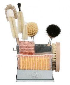 Dish Brush Holder with Brushes