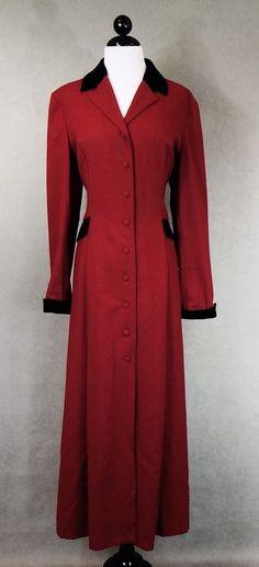 LAURA ASHLEY Burgundy Red Velvet Trim Riding Coat Steampunk Goth Dress Size 12 #LauraAshley #CoatdressMaxiDressALineDress