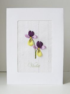 Violets Card silk ribbon embroidery