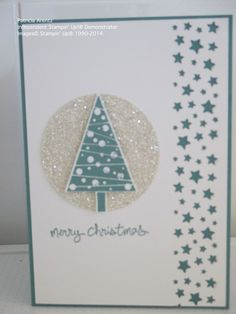 Christmas Card - using Stampin' Up Festival of Trees and Good Greetings stamps and Confetti Stars Punch