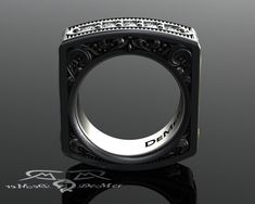 Square mens diamond ring. Heavily engraved two by DeMerJewelry