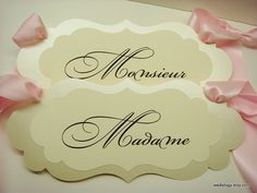 Wedding Chair Signs Madame and Monsieur Colors to von wedology, $24.00
