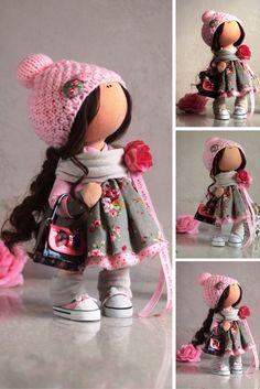 Baby doll Cloth doll Tilda doll Winter doll Handmade doll Pink doll Textile doll Soft doll Fabric doll Art doll Rag doll