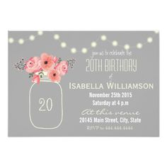 438 best 20th birthday party invitations images on pinterest 20 20th birthday pink watercolor flowers mason jar invitation filmwisefo