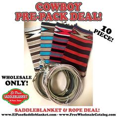 6 Genuine Used Cowboy Ropes & 4 Handwoven Economical Hawkeye Saddleblankets! Get this LIMITED TIME Deal Today!! - link in bio- . . #elpasosaddleblanket #westerncowboy #rodeo #wholesale #wholesalespecials #saddleblankets