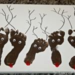 Reindeer Footprint Art Christmas Keepsake on Canvas